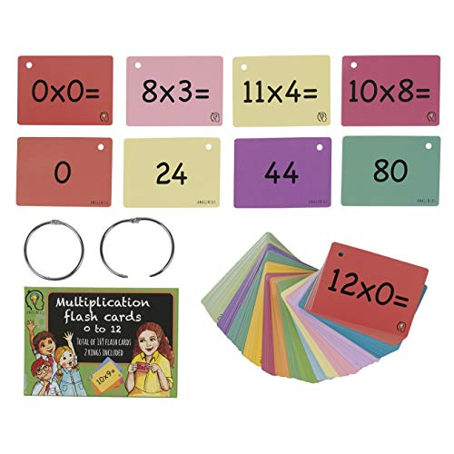 Multiplication Flash Cards, one Set of 0-12 Times Tables Cards, 169 Double Sided Multiplication Flash Cards with 2 Rings Included (Keeps Cards Tidy)