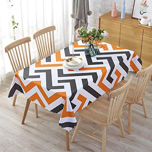 ZXCN Manteles Mesa Rectangular Impermeable PVC Moderno Simple decoración de Mesa para Cocina y Comedor Naranja Negro 110 × 160cm