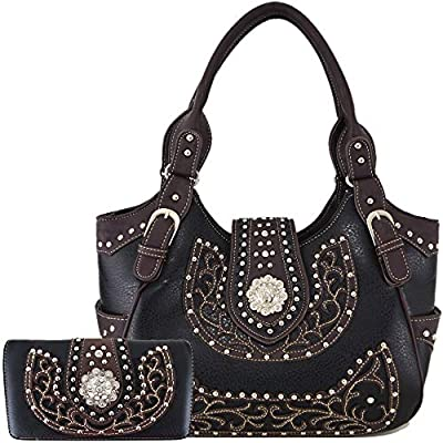 Western Style Rhinestone Concho West Concealed Carry Purse Country Handbag Women Shoulder Bag Wallet Set (#2 Black Set)