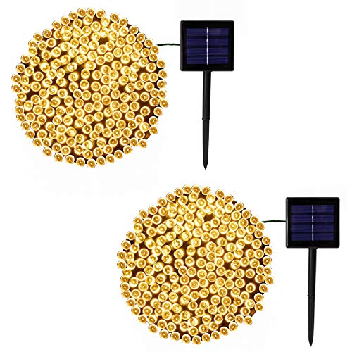 2-Pack Each 200LED 72FT Solar String Lights Outdoor, Upgraded Green Wire Solar Christmas Lights Outdoor, 8 Modes Halloween Decorations Lights for Party Christmas Decorations Wedding Tree (Warm White)
