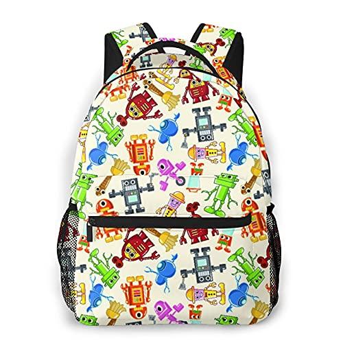 Multifuncional Casual Mochila,Colección de robots de dibujos animados coloridos, tema de guardería para niños, juguetes de ci,Paquete de Hombro Doble Bolsa de Deporte de Viaje Computadoras Portátiles