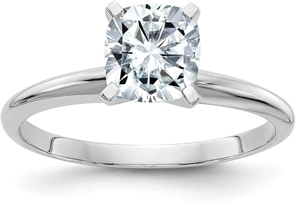 14k White Gold 2ct. D E F Pure Cushion Moissanite Solitaire Band Ring Size 7.00 Engagement Gsh Gshx Fine Jewelry For Women Gifts For Her