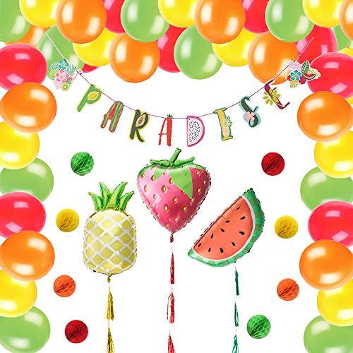 Easy Joy Ananas Erdbeere Folie Ballons Rot Orange Luftballons Set Obst Frucht Girlande Mini Wabenbälle Deko