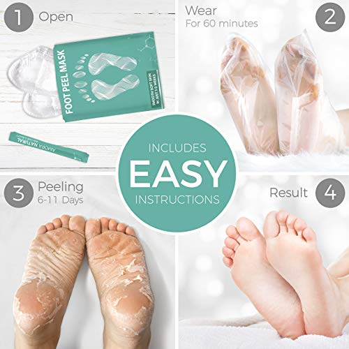 Foot Peel Mask - 2 Pack - For Cracked Heels, Dead Skin & Calluses - Make Your Feet Baby Soft & Get a...