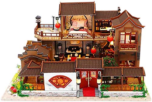 2020 Nueva casa de jardín de doble piso miniatura de madera escala 1:24 casa de muñecas modelo arquitectónico con cubierta antipolvo y luz LED Kit de manualidades (casa de jardín chino)