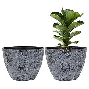 LA JOLIE MUSE Flower Pots Outdoor Indoor Planter – 11.3 inch Garden Pots Tree Planter for Patio, Deck,Garden,Rock Gray,Set of 2