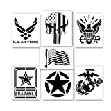 HSIULMY American Flag Stencil Templates, 6 pcs 5x7 inch Punisher Skull Flag Navy Army Airforce Marines Reusable Plastic Stencils for Painting on Wood, Fabric, Paper, Airbrush, Glass and Wall Art