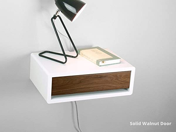 Mid Century Modern Floating Nightstand Retro Style Wall Mount Bedside Table Side Table