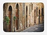 Alfombra de baño de paisaje, casa antigua en Italia, con detalles florales de la calle Toscana fondo borroso, felpa, decoración de baño con parte trasera antideslizante, 40 x 60 cm, marrón beige