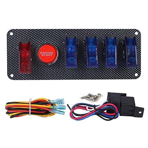 XXYHYQHJD 12V del Coche de competición del Interruptor de Encendido + 4 Azul 1 Coche Rojo de Arranque del Motor botonera LED Toggle for Racing Car