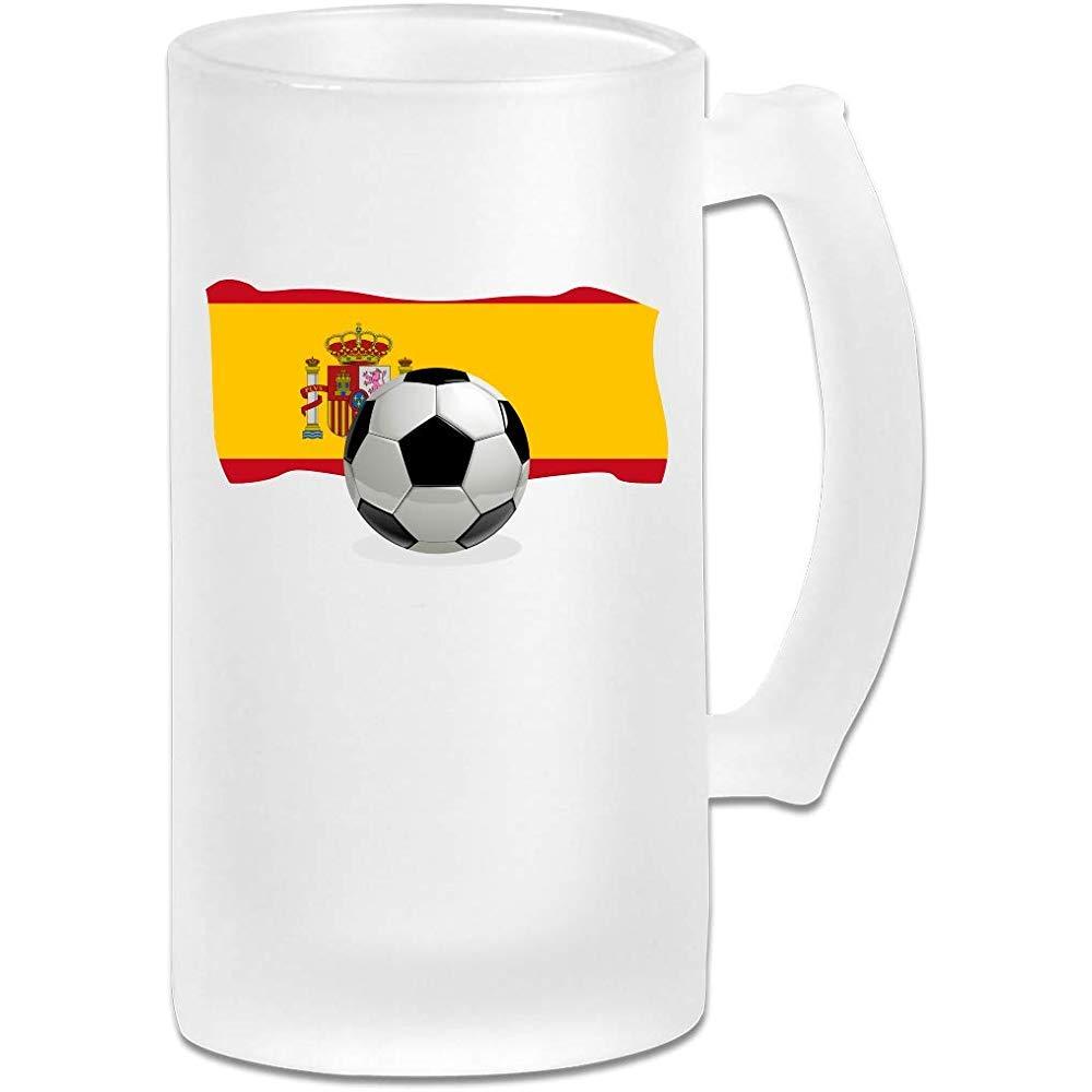 Balón de fútbol con la bandera de España Jarra de cerveza Stein de vidrio esmerilado - Taza de pub personalizada personalizada - Regalo para su bebedor de cerveza favorito: Amazon.es: Hogar