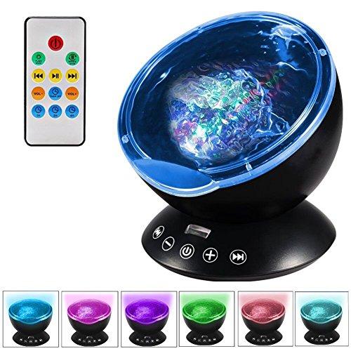 HMLIGHT 12 LEDs USB Charge Neuheit Atmosphären-Lampe mit Fernbedienung und 7 Licht-Modi, Unterstützungs-TF-Karte/Audio-Eingang, eingebauten 4 Hypnose Musik, DC 5V,Schwarz