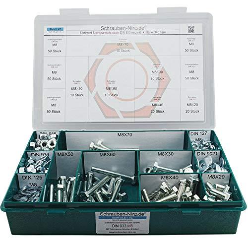Sortiment M8 DIN 933 Stahl 8.8 galv. verzinkt Sechskantschrauben mit Gewinde bis Kopf - Set bestehend aus Schrauben, Unterlegscheiben (DIN 125, 127, 9021) und Muttern (DIN 934, 985) - 340 Teile