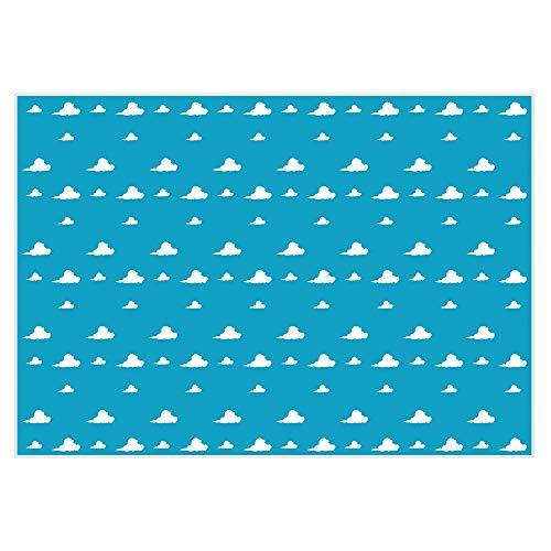 Funnytree 7 x 5 pies Azul Cielo Blanco Nubes telón de Fondo Dibujos Animados niños Fiesta de cumpleaños niño Historia Baby Shower Fondo Postre Mesa Banner Photo Studio fotografía Props