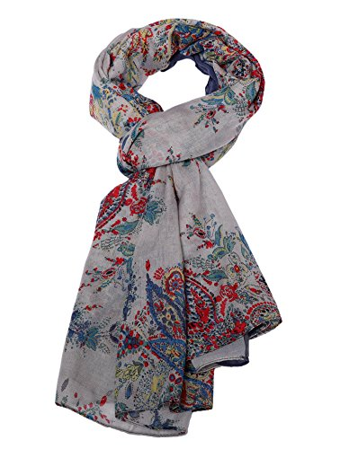 Salutto Womens Polyester Voile Scarf Bandanna Paisley Pattern Soft Scarves Shawl Wrap (Blue)