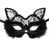 Cusfull Sexy Schwarz Katze Maske Damen Vintage Cosplay Maskerade Party Halloween Karneval Kostüm Zubehör