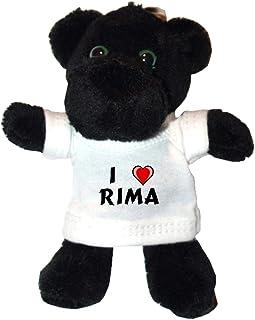 Shopzeus Pantera Negro de Peluche (Llavero) con Amo Rima en la Camiseta (Nombre de Pila/Apellido/Apodo)