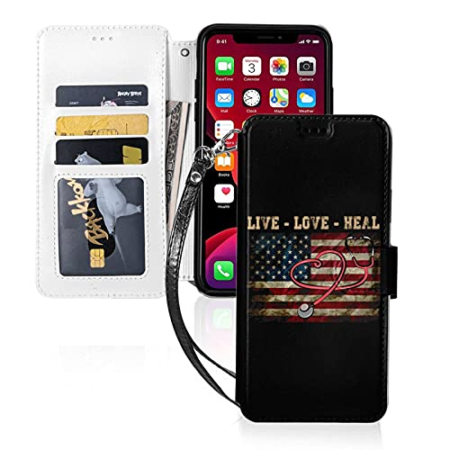 LINGF Funda para teléfono,Live Love Heal Nurse Heart Flag Funda para iPhone 11 Pro MAX Funda Linda para Mujeres Hombres Funda de Cuero con Correa Funda Protectora