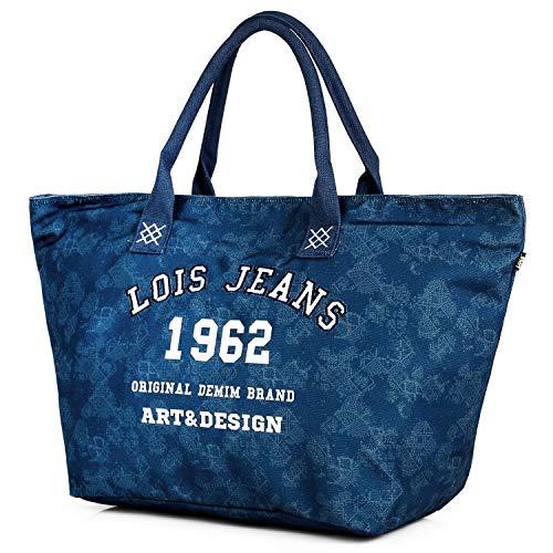 Lois - Bolso Capazo con Asas de Lona Estampada. Tipo Shopping Tote. Gran Capacidad. para Playa o Compras en Verano Bonito Diseño. Marca Moda y Estilo. 601001, Color Azul