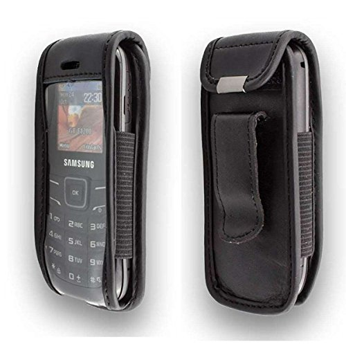 caseroxx Ledertasche mit Gürtelclip für Samsung GT E-1200 Keystone 2 aus Echtleder, Handyhülle für Gürtel (mit Sichtfenster aus schmutzabweisender Klarsichtfolie in schwarz)