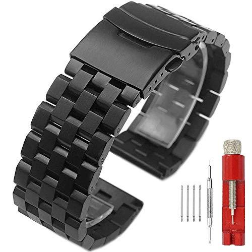 Kai Tian Correa reloj de metal de 20mm Bandas de reloj para hombre negro Pulsera de acero inoxidable con cierre de despliegue de doble cerradura Diseño de 5 filas para mujeres niñas