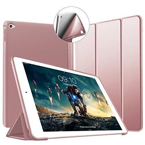 Custodia per iPad Air 2, VAGHVEO Ultra Sottile e Leggere [Auto Svegliati/Sonno] con Protezione Elevato Morbido TPU Soft Silicone Smart Cover Case per Apple iPad Air 2 (Modelli A1566 A1567), Oro Rosa