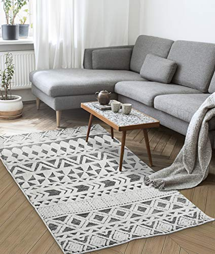 AAZEEM Soft Indoor Modern Area Rugs Patterned Fine Carpets Suitable for Living Room and Bedroom Nursery Rugs Home Decor Rugs, 3 X 5 Feet (White)