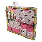 SET NEONATA Minnie Mouse Disney - Scarpine, Cappello E 2 Bavaglini in Cotone - Confezione ...