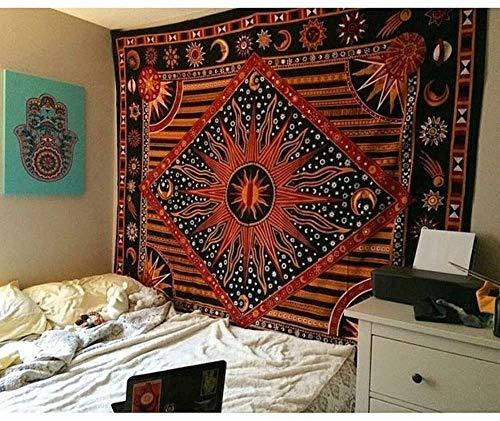 CULASIGN Wandteppich indischer Mandala Tapestry Hippie Bohemian Psychedelic Wandtuch Wandbehang Wand Dekoration Tagesdecke Orientalisch (Orange)