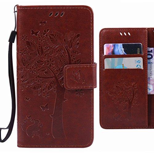 Ougger Handyhülle für Sony Xperia Z3+ (Z3 Plus/Z4/E6553) Tasche, Baum Katze Druck Brieftasche Schale Schutzhülle Leder Weich Magnetisch Stehen Silikon Cover mit Kartenslot (Kaffee)
