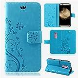 betterfon | Flower Case Handytasche Schutzhülle Blumen Klapptasche Handyhülle Handy Schale für ZTE Axon 7 Blau