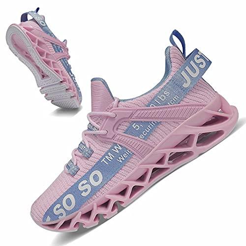 JSLEAP Damen Laufschuhe sportlich Casual Mesh Schnürschuhe Atmungsaktiv Leichtgewichtig Turnschuhe So So Sneaker 2 Pink&Blau,Größe 38 EU/240 CN