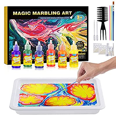 Water Marbling Paint for Kids - Arts and Crafts for Girls & Boys Crafts Kits Ideal Gifts for Kids Age 3-5 4-8 8-12 by Coodoo