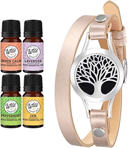 Wild Essentials Tree of Life Essential Oil Personal Diffuser Bracelet Gift Set with Aromatherapy Pendant, 14.5' Leather Wrap Band, Refill Pads, 100% Pure Oils (Lavender, Peppermint, Inner Calm, Zen)