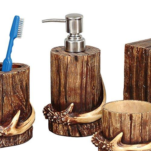 BLACK FOREST DECOR Buck Mountain Antler Hand Soap or Lotion Pump Dispenser
