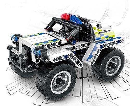 Modbrix Technik Auto Polizeiauto Highway Police mit Rückzieh-Motor, Konstruktionsspielzeug mit 199 Teilen