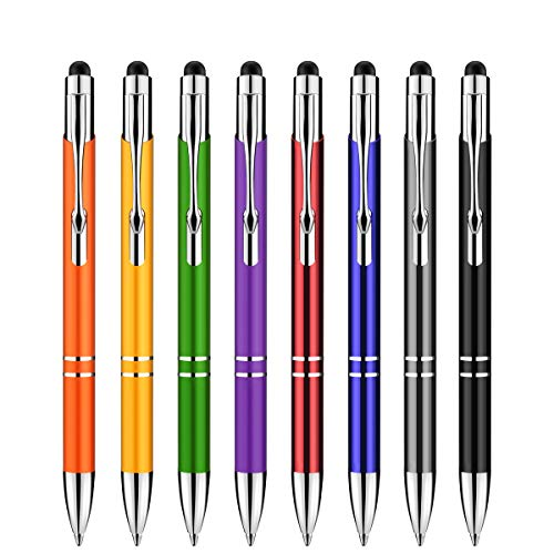 Penna touch, Zoonnis 2 in 1 pennino stilo capacitive universali per schermi tattili Dispositivi,Penna ad alta sensibilità adatta Tablet iPad Apple Kindle Samsung Galaxy,penne a sfera(8 X colore misto)