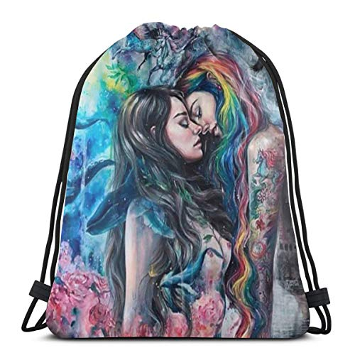 Goth Gothic Girl Lace Love LGBT Lesbian Drawstring Bags Big Capacity Gym Bag Antistatic Sports Bags Lightweight Drawstring Backpack Pull String Bags Multifunctional Party Supplies For Men Women