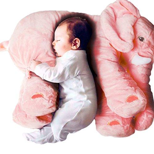 MJTP Elefante de Peluche de 24 Pulgadas, Juguete de Peluche de Peluche, Lindo cojín de Almohada de bebé, Juguete de edredón para bebés recién Nacidos (Pink, L)