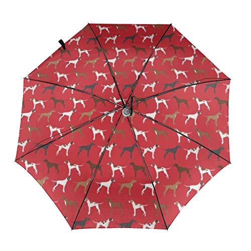 English Pointers Hundemantel, rot, winddicht, faltbarer Regenschirm, wasserabweisend, Teflon-Beschichtung, leicht, stark, winddicht, kompakter Reise-Regenschirm mit automatischem Öffnen und Schließen