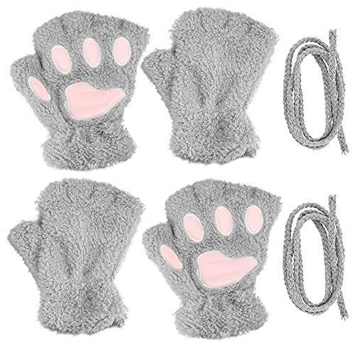 GOLRISEN 2 Paar Halbfinger Handschuhe Katze Klaue Niedlich Winterhandschuhe Fingerlos Halbhandschuhe Plüsch Fingerhandschue Winter Halbfingerhandschuhe Pfotenhandschuhe für Mädchen Frauen Outdoor