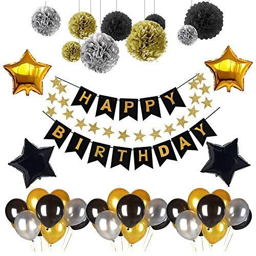 Usee 誕生日 飾り付け 風船 誕生日パーティー バルーン HAPPY BIRTHDAY 飾り バルーン スター ガーランド ペーパー フラワー アルミ風船 ブラックゴールド
