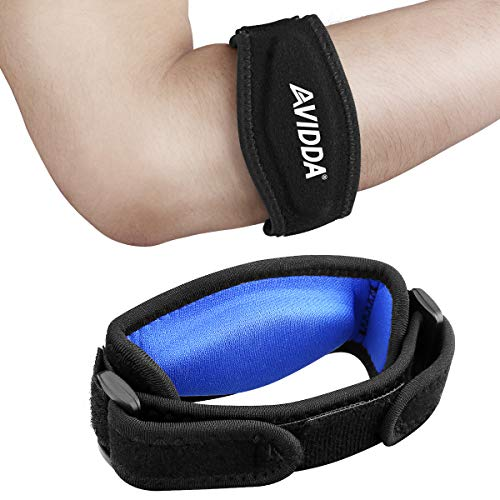 AVIDDA 2 Pack Tennis Elbow Brace with Compression Pad for Women and Men Golfers Elbow Brace for Tendonitis Pain Relief Blue