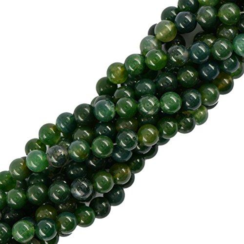 Harilla 10 Mm Naturaleza Verde Musgo ágata Piedras Preciosas Espaciador Suelto Perlas Redondas Hebra 15'