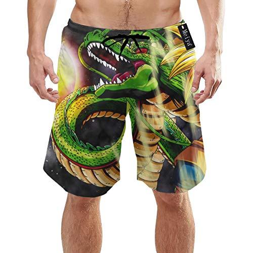 EU Son Goku en Dragonball Bañador de Secado rápido para Hombres con Bolsillos Cintura elástica Larga Pantalones Cortos de Playa Trajes de baño XXL