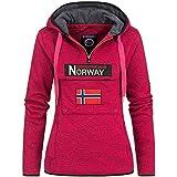 Geographical Norway UPCLASSICA Lady - Sudadera Capucha Bolsillos De Forro Polar Kangaroo - Sudadera De Manga Larga Y Cálida - Sudadera con Capucha Tops Sport (Rosa Flash XL)