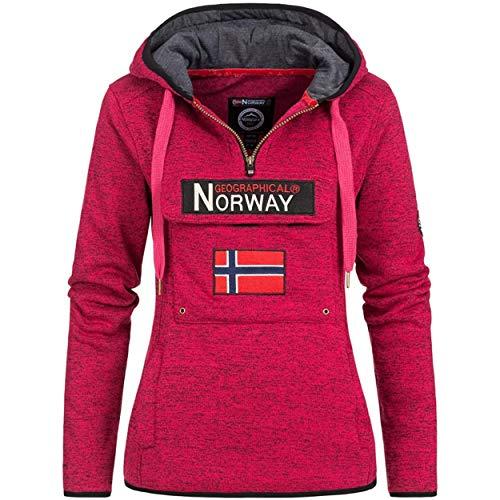 Geographical Norway UPCLASSICA Lady - Felpa Donna Cappuccio - Felpa da Donna Casual A Manica Lunga Calda Casual - Felpa con Cappuccio Giacca Top Sport (Rosa Flash L)