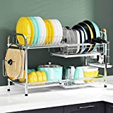Dish Drying Rack, Cambond Length Adjustable Large Dish Rack with Pot and Pan Organizer Rack Holder, Non Rust 201 Stainless Steel Dish Drainer for Kitchen Countertop, Silver