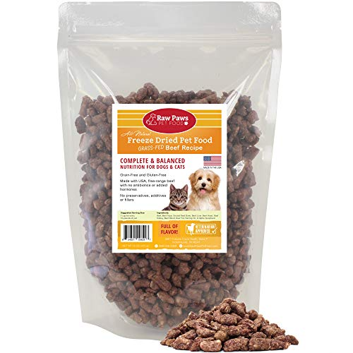 Raw Paws Free-Range Beef Freeze Dried Dog Food & Cat Food, 16-oz - Made in USA - Complete Cat & Dog Food Freeze Dried to Preserve Raw Nutrition - Grass-Fed Cows – Grain, Gluten & Wheat Free Pet Food
