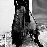 JJCDKL Maxi Falda Larga Tul Suave Costuras de Encaje Faldas de tutú Plisadas Blancas Negras góticas Mujeres...